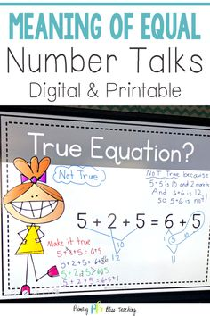 These number talks are designed to help first grade students understand the meaning of the equal sign. They are specifically aligned to common core standard 1.OA.D.7. These number talk math resources are an asset to any first grade classroom. Don't miss out! Grab your EASY to use digital set today! #firstgradenumbertalks #firstgrademathtalks #meaningoftheequalsign First Grade Lessons, Teaching First Grade, First Grade Classroom, First Grade Math, Teaching Math, Math Lessons, Math Fact Practice, Math Talk, Math Strategies