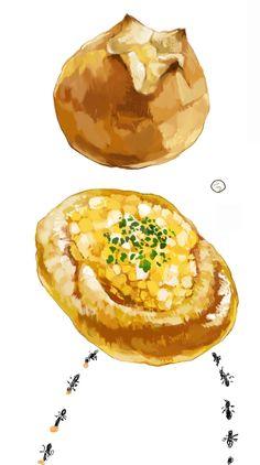 食:お惣菜パン Food Illustrations, Illustration Art, Bread Recipes, Cake Recipes, Anime Poses Reference, Food Icons, Food Drawing, Food Art, Eye Candy