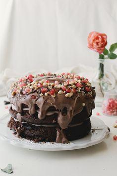 Hazelnut Whisky Chocolate Layer Cake (vegan)
