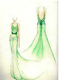 Costume designer Jacqueline Durran's green dress illustration for Kiera Knightly's role in Atonement.