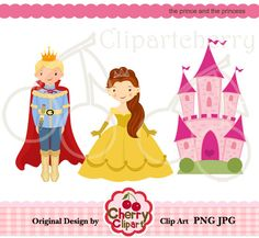 The prince and the princess digital clipart set for -Personal and Commercial Use- for Card Design, Scrapbooking, and Web Design. $2.50, via Etsy.