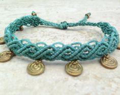 Rainbow moonstone Macrame Bracelet Handmade por ARTofCecilia