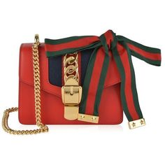 Gucci Sylvie Mini Chain Bag (94.235 RUB) ❤ liked on Polyvore featuring bags, handbags, hibis red, mini handbags, structured purse, chain purse, gucci handbags and real leather purses