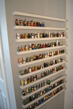 Smart Tricks To Keep Your Kids Organized DIsuch a cute idea for a kids playroom with characters to display when not playing with them.DIsuch a cute idea for a kids playroom with characters to display when not playing with them. Lego Storage, Storage Shelves, Lego Shelves, Wall Shelves, Closet Storage, Display Shelves, Craft Storage, Display Cases, Picture Shelves