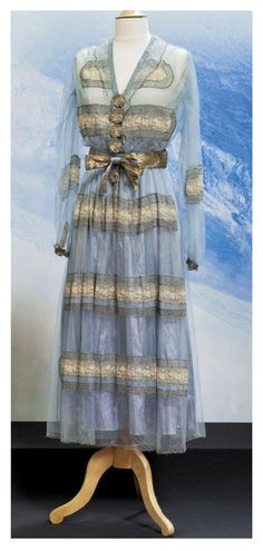 Jeanne Lanvin Paris Haute couture, Summer 1916. drouot.com pre 20s era 10s blue sheer chiffon silk gold embroidery afternoon tea dress dinner edwardian downton abby