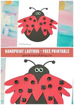 Handprint Ladybug - Kid Craft Idea w/free printable template