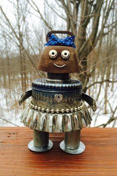 New to LovableLeftovers on Etsy: robot sculptures found object art robot sculpture metal robots robots robot bots girl robots collector doll art doll - Tilly (50.00 USD)