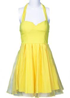 Yellow Halter Strapless Mesh Yoke Princess Dress - Sheinside.com. This looks a bit like the Bushel and a Peck pieces!
