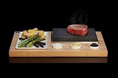 Steak Stones Set Hot Stone Cooking Black Lava Rock Grill Sizzling Dish Dinner #SteakStones
