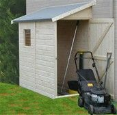 narrow mower storage shed against fence - Bing Images