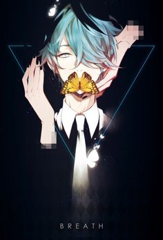 anime boy   blue eyes   blue hair   butterfly   dark   handsome   pixiv   anime