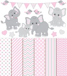 ITEM: Baby Elephant Clipart & Digital Paper - Vector Baby Elephant Clipart, Baby Girl Elephant Clipart, Nursery Clip Art and Baby Elephant Digital Paper for Personal and Co... #thecreativemill