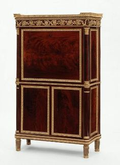 Secrétaire à abattant, c. 1788; Paris, France; oak and mahogany, gilt-bronze, brass, white marble top. Attributed to menuisier Jean-Ferdinand Schwerdfeger.  MFA Boston (1979.484)