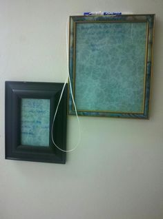 Home made dry erase boards -- old picture frames, scrapbook paper, dry erase markers. Placed right by the fridge to jot down things we might be out of and a to do list.