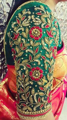 Best 8 Elbow length sleeve design collection from Sajna bridal wear. All top elbow length sleeve collection. Sleeves with hand embroidery thread bead and kundan work. Cutwork Blouse Designs, Wedding Saree Blouse Designs, Fancy Blouse Designs, Hand Work Blouse Design, Stylish Blouse Design, Aari Work Blouse, Sari Blouse, Blouse Neck, Designer Blouse Patterns