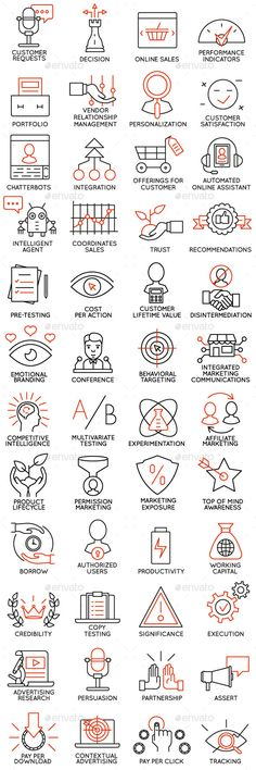 Vector set of icons related to business management, strategy, career progress and business process. Mono line pictograms and infog