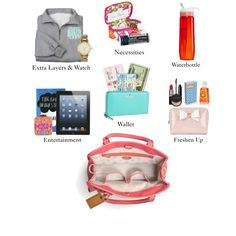 """""""Packing a Carry-On"""" by pearlsplease on Polyvore.  My only advice is to make sure the bite and suck water bottle is empty when you get on the plane.  The change in air pressure totally messes with it."""