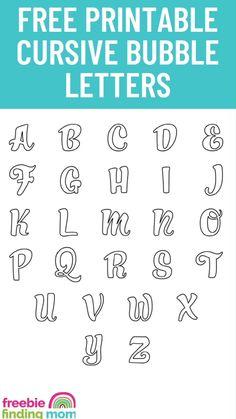 Graffiti Lettering Fonts, Hand Lettering Fonts, Creative Lettering, Lettering Tutorial, Lettering Design, Cursive Bubble Letters, Cursive Fonts Alphabet, Free Printable Letter Stencils, Printable Letters