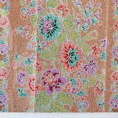 colorful flowers and light gray tone  vintage  by 18dec on Etsy, $17.00
