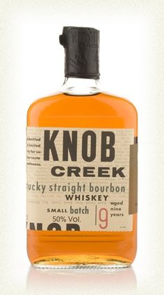 Knob Creek is a small batch bourbon produced by Jim Beam, distilled in a more traditional style and aged 9 nine years. It is named for the area in Kentucky where Abraham Lincoln grew up, it is said that the creek nearly claimed his life when he was swimming. This is classic stuff, delicious! £28.20 #bourbon #whisky