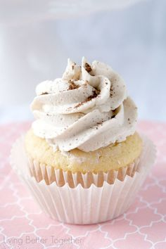 Light and fluffy cupcakes topped with a sweet French Vanilla Cappuccino Buttercream