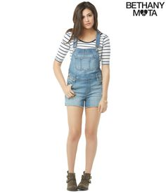 Destroyed Light Wash Shortall from Bethany Mota collection at Aeropostale