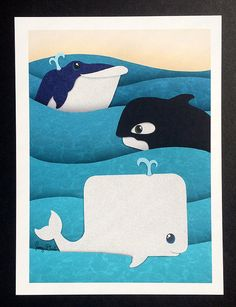 Whale Print- Blue Whale, Killer Whale and White Whale- Perfect for Baby Showers and Nurseries