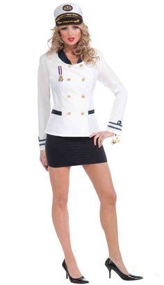 <p>Eye Eye Captain, let's party! Team this women's white sailor jacket…