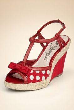 Peep toe bow spotted wedge shoes
