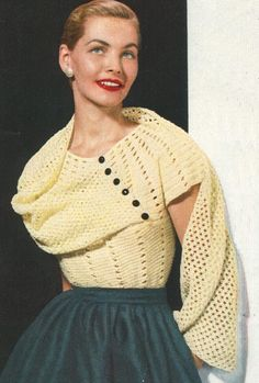 Crocheting not my forte, but I may have to learn for this adorable sweater.  PDF 5201 Vintage 1950s Lacy Stole Shawl Blouse Crochet Pattern