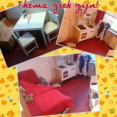 Huishoek wordt behandelkamer bij de dokter met apotheek (in het keukentje), bed(van zachte speelblokken uit de speelzaal) en wachtkamerstoelen natuurlijk:) Reggio, Toddler Bed, Teaching, Education, Projects, Kids, Home Decor, School, Child Bed