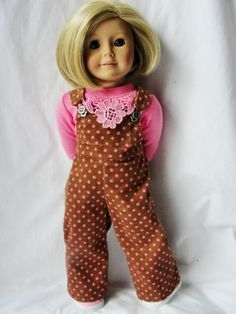 American Girl Doll Brown & Pink Polka Dot by DollClothesByJane