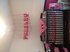 A Minnie Mouse room for my little baby girl, Presley. Still a work in progress.