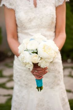 bridal #bouquet of #white #peonies, #roses, and #ranunculus with blue #hydrangea.  Also, I adore her dress.  photo credit: http://jaephotography.blogspot.com/