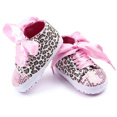 Girls Pink Leopard Print Shoes with Silk Shoe Laces & Sequined Toe, Baby Girls Shoes, First Walking Shoes, Crib Shoes from Needles Knots n Bows Toddler Girl Shoes, Baby Girl Shoes, Girls Shoes, Zapatos Bling Bling, Bling Shoes, Sparkly Shoes, Ropa American Girl, Sequin Shoes, Newborn Shoes