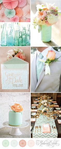 mint and peach wedding inspiration board see more http://www.midwestbride.com/2014/10/01/mint-and-peach-wedding-inspiration-board/