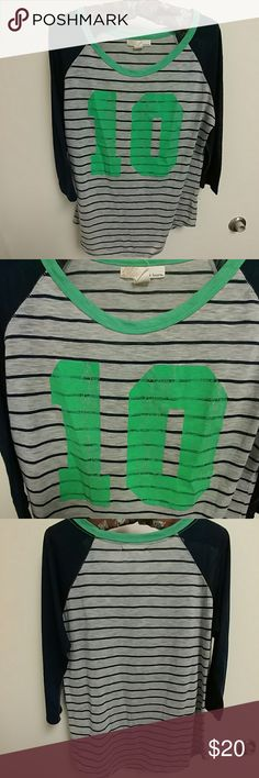 "Derek Heart long-sleeve striped t-shirt Casual & stylish, this is a baseball jersey style striped t-shirt by Derek Heart. Gray shirt with navy stripes and navy sleeves, featuring a large ""10"" in distressed green. In very good used condition (minimal piling, no rips or stains.) Derek Heart Tops Tees - Long Sleeve"