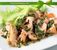 baked salmon with salsa verde and cucumber