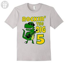 Mens Kids 5 Year Old Birthday Gift Dinosaur T-Shirt 2XL Silver - Birthday shirts (*Amazon Partner-Link)