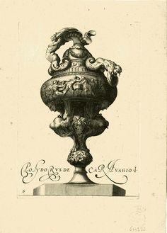 Polydorus de Caravagio 1600? Jarrón decorado con figuras mitológicas humanas y fantásticas, grifos, sátiros, quimeras...