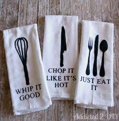 Hometalk :: DIY Painted Kitchen Towels painted kitchens, kitchen towels, paint kitchen