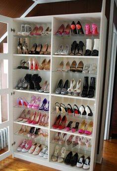 Turn bookshelf into shoe storage!