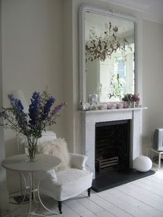 Mirror above fire place