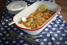 Scallops baked with butter, lemon, vermouth, and cracker crumbs, until they're sweet, tender, and golden brown on top.