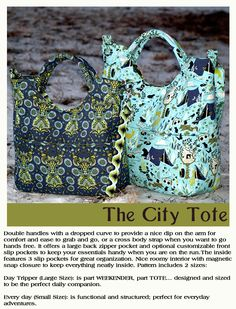 Looking for your next project? You're going to love The City Tote Daytripper and Everyday by designer RLR Creations. - via @Craftsy
