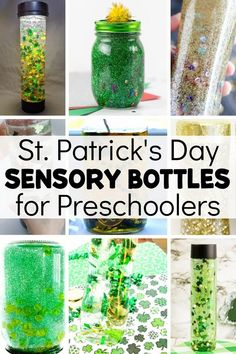 St. Patrick's Day has such recognizable symbols, it's perfect for a themed sensory bottle! Here's a list of 15+ bottles, each with a fun March theme for St. Patrick's Day. Rainbow Sensory Bottles, Glitter Sensory Bottles, Glitter Jars, Green Glitter, Sensory Bins, Sensory Activities, Calming Bottle, Calm Down Jar, Rainbow Rice