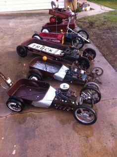 wheelbarrow go-kart rat rods Kids Go Cart, Kids Wagon, Radio Flyer Wagons, Diy Go Kart, Little Red Wagon, Mechanic Humor, Kustom Kulture, Kids Ride On, Pedal Cars