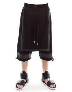 Skingraft Panel Pants in Black - PASAR FASHION ONLINE