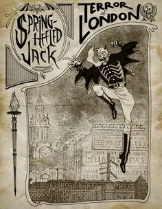 """Penny novels about murder and other crimes came to be known as """"Penny Dreadfuls"""". This one is Spring-Heeled Jack, the terror of Victorian London Victorian London, Victorian Gothic, Victorian History, Vampires, Scary, Creepy, Pen & Paper, Spring Heels, Carlin"""
