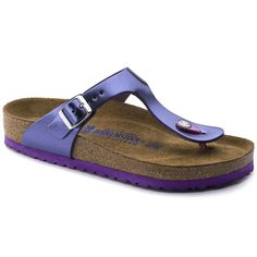 3961258c455de Gizeh Natural Leather Soft footbed Metallic Violet Neutral Tops, Stylish  Sandals, Workout Tops,